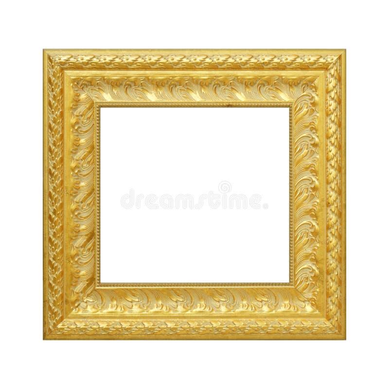 O quadro antigo do ouro no fundo branco fotos de stock royalty free