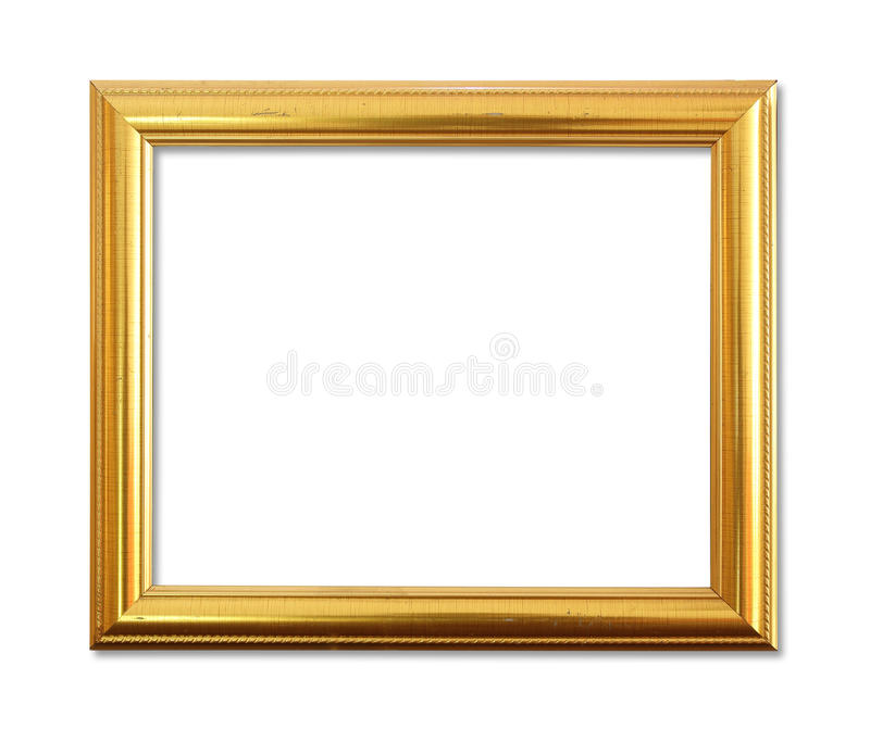 O quadro antigo do ouro no fundo branco imagens de stock