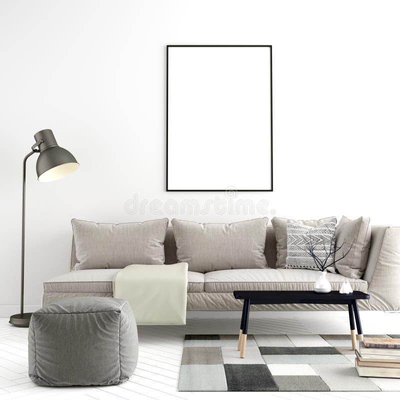 O quadro ascendente trocista do cartaz no fundo interior moderno, 3D rende, a ilustra??o 3D ilustração do vetor
