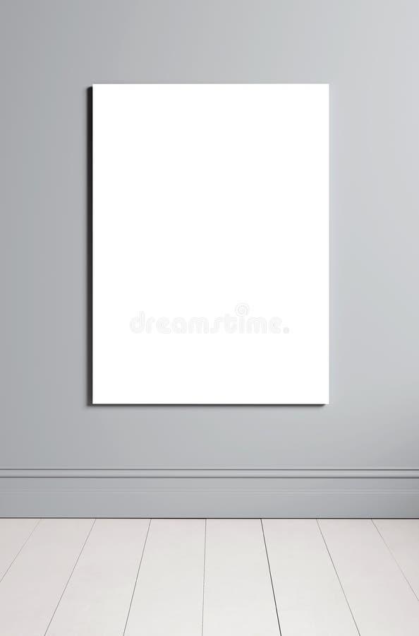 O quadro ascendente trocista vertical do cartaz no fundo interior vazio, estilo escandinavo, 3D rende ilustração royalty free