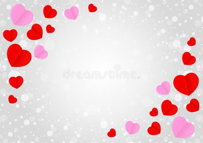 O quadro cinzento vazio e a forma cor-de-rosa vermelha do coração para Valentim da bandeira do molde cardam o fundo cinzento, mui ilustração royalty free