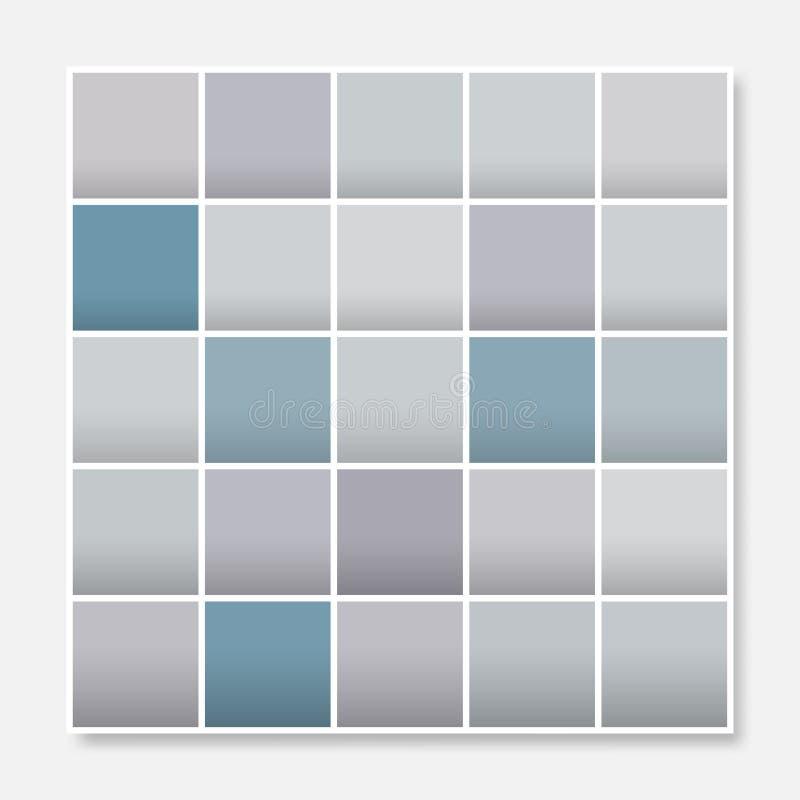 O quadro colorido do fundo dos quadrados, obstrui o azul cinzento pastel macio ilustração stock