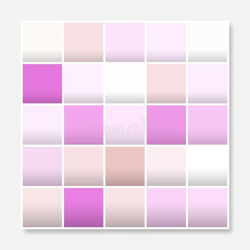 O quadro colorido do fundo dos quadrados, obstrui o roxo macio do rosa pastel ilustração stock