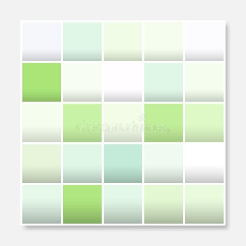 O quadro colorido do fundo dos quadrados, obstrui o verde pastel macio ilustração royalty free