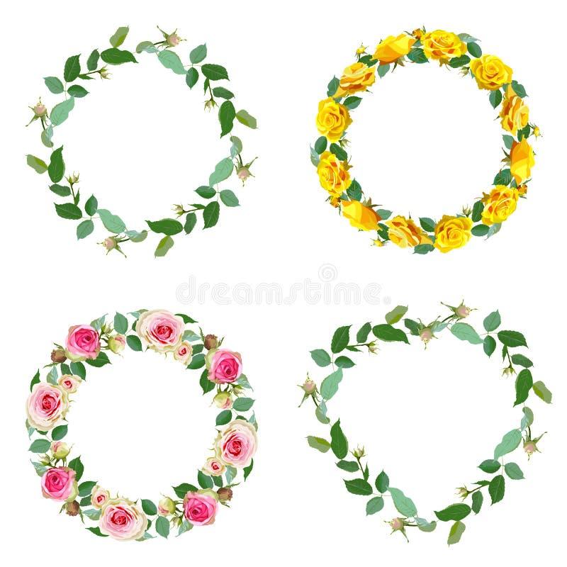O quadro com aumentou Grupo de beiras florais redondas ilustração royalty free