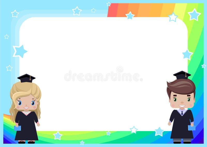 O quadro com uma menina e um menino gradua-se em vestidos e em chapéus da graduação ilustração royalty free