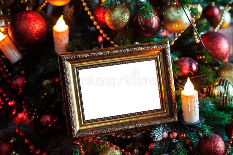 Download O Quadro Da Foto No Natal Decorou O Fundo Foto de Stock - Imagem de decorado, foto: 80100290