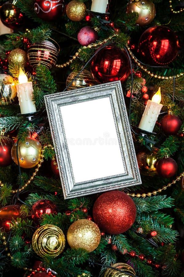 Download O Quadro Da Foto No Natal Decorou O Fundo Imagem de Stock - Imagem de celebration, esfera: 80101405