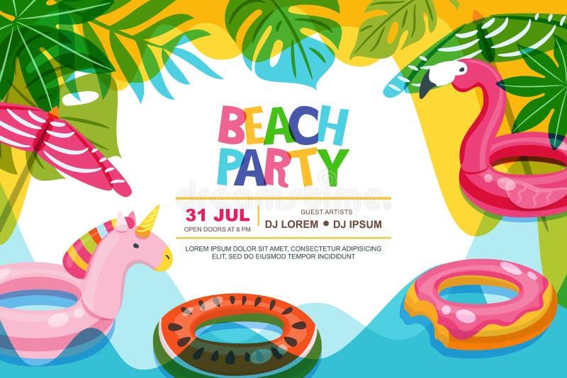 O quadro da piscina com flamingo e o unicórnio flutuam brinquedos das crianças Encalhe o cartaz do verão do vetor do partido, mol ilustração do vetor
