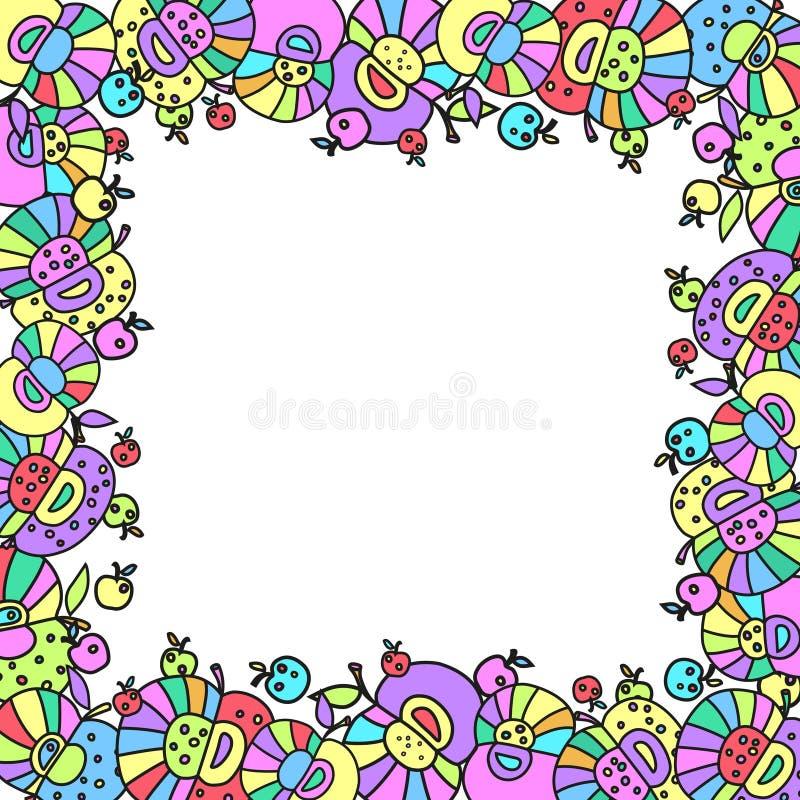 O quadro das maçãs Nádegas brilhantes teste padrão colorido dos grupos de maçãs ilustração royalty free
