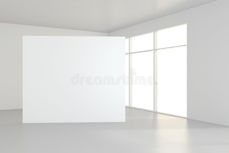 O quadro de avisos branco vazio na sala vazia com janelas grandes, zomba acima, a rendição 3D imagem de stock royalty free