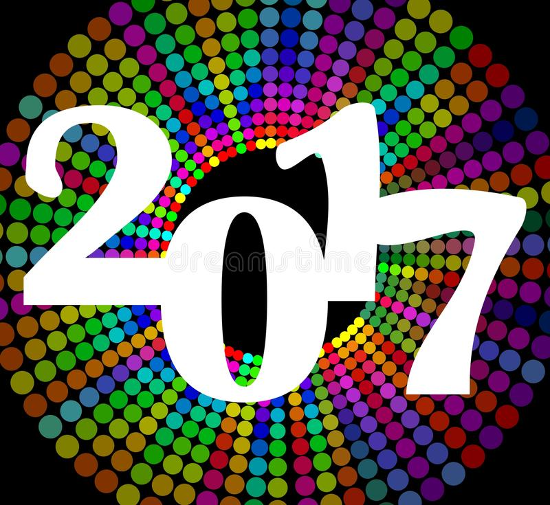 O quadro de avisos 2017 do ano novo feliz com círculo colorido do arco-íris dá forma Molde do projeto do vetor do EPS 10 para o p ilustração do vetor