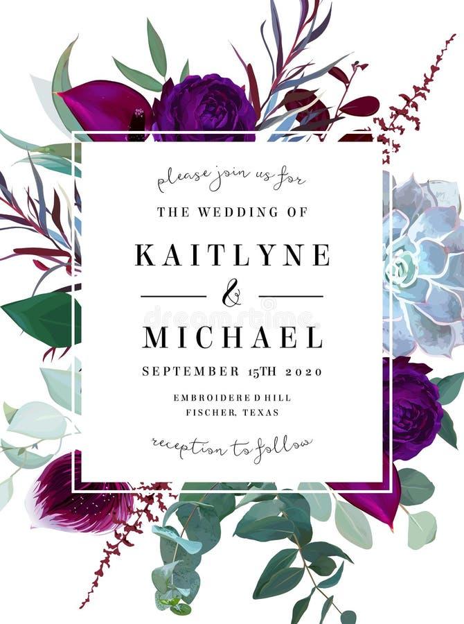 O quadro de etiqueta floral quadrado arranjou das folhas e das flores ilustração do vetor