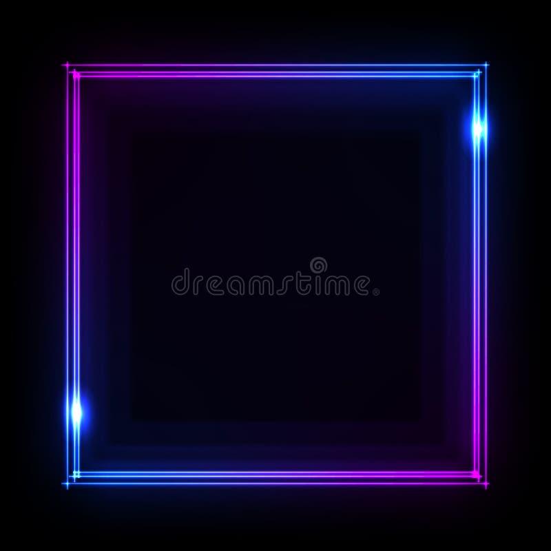 O quadro de néon colorido em um fundo escuro, vector o sumário ilustração stock