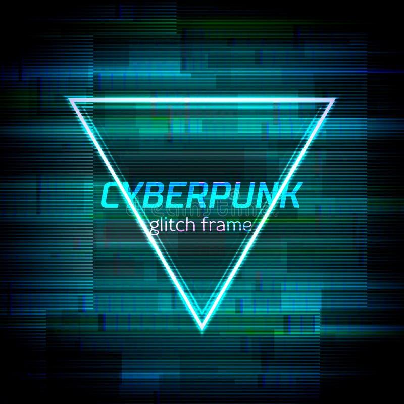 O quadro do Cyberpunk do pulso aleatório com erro da tecnologia e o néon dão forma ilustração royalty free
