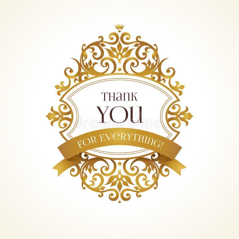 O quadro dourado do vetor para agradece-lhe mensagem ilustração royalty free