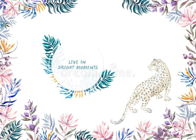 O quadro ex?tico do c?rculo da aquarela com folhas, as flores e o leopardo tropicais para o casamento, convida, cart?o de anivers ilustração stock