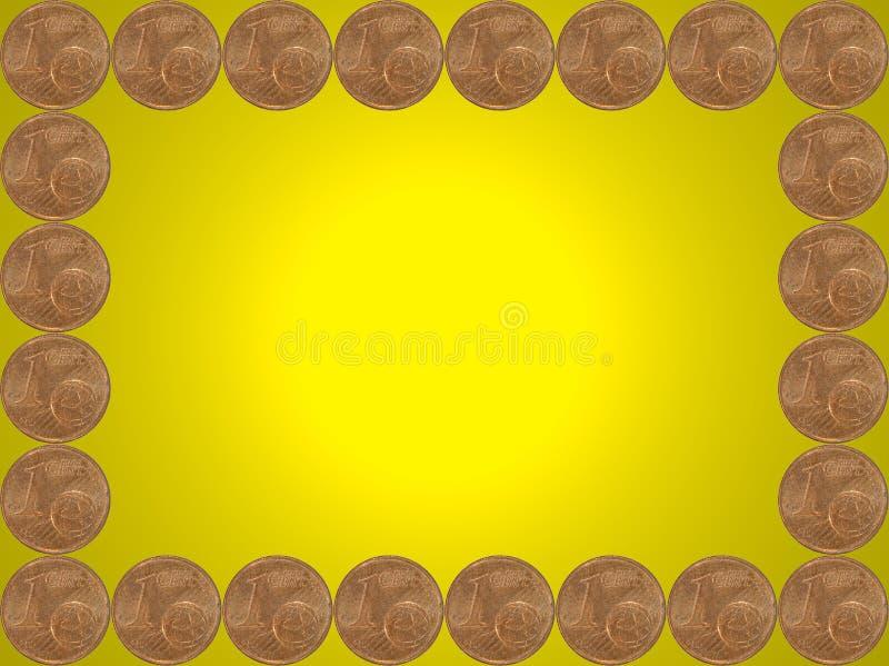 O quadro feito de um euro- centavo inventa no amarelo. ilustração royalty free