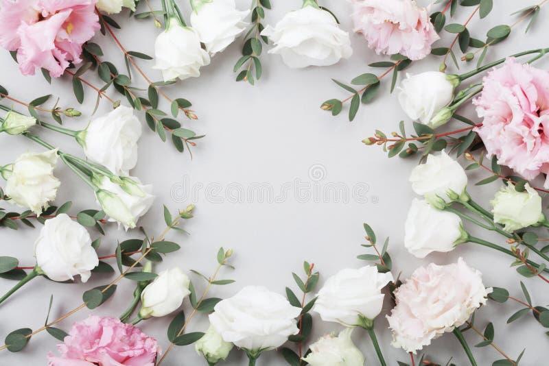 O quadro floral bonito de flores pasteis e do eucalipto verde sae na opinião de tampo da mesa cinzenta Composição lisa da configu fotos de stock royalty free