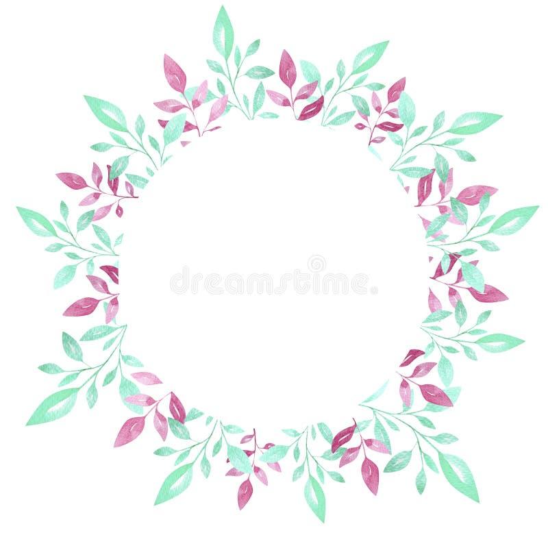 O quadro floral do círculo com folhas da aquarela, ilustração pintado à mão pode ser usado para cartões ou fundo dos convit ilustração royalty free