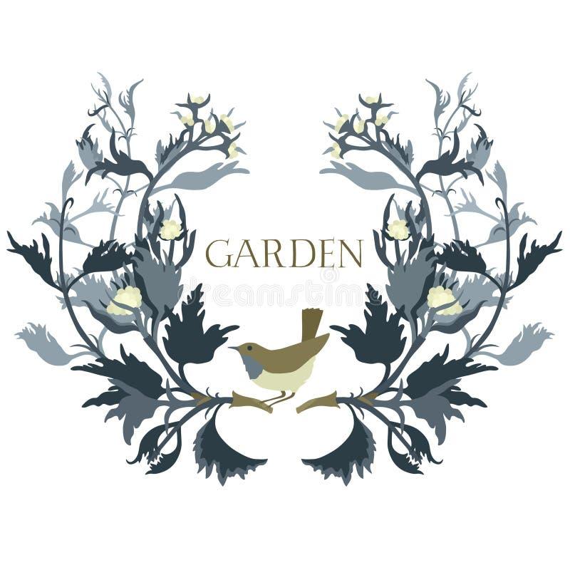 O quadro floral do jardim com um pássaro isolou o objeto ilustração do vetor