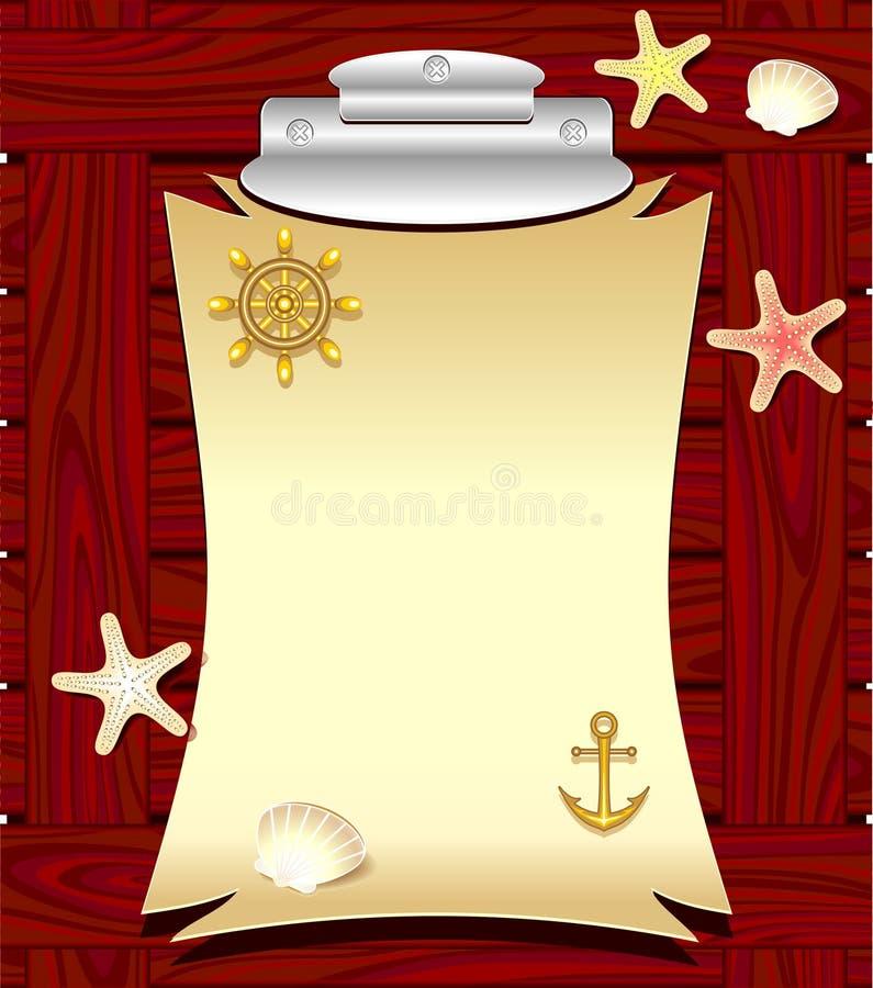 O quadro marinho com roda da âncora descasca estrelas do mar ilustração royalty free