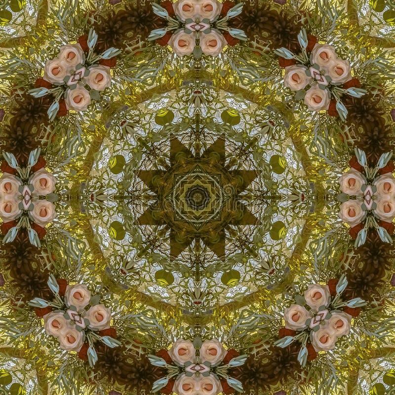 O quadro Muted do quadrado coloriu flores no arranjo circular no casamento em Califórnia imagem de stock royalty free