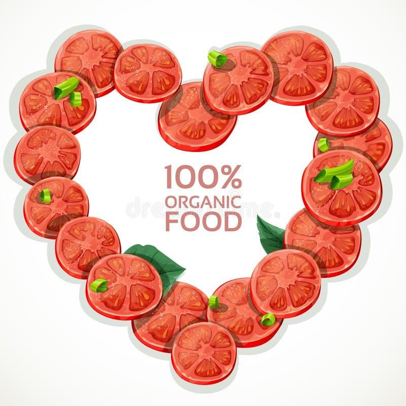 O quadro na forma do coração do tomate fresco corta o spri ilustração do vetor