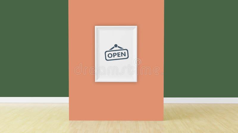 O quadro na parede alaranjada na sala, 3d rende ilustração do vetor