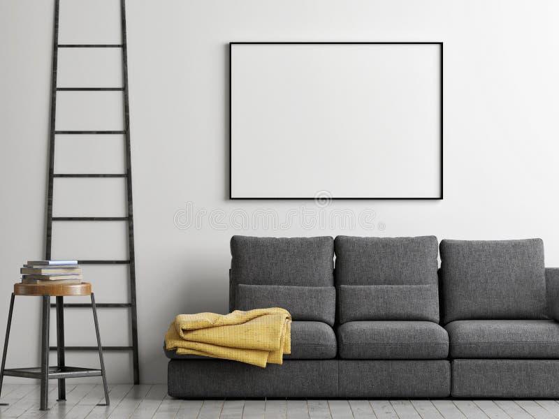 O quadro na parede, zomba acima do cartaz, ilustração 3d ilustração do vetor