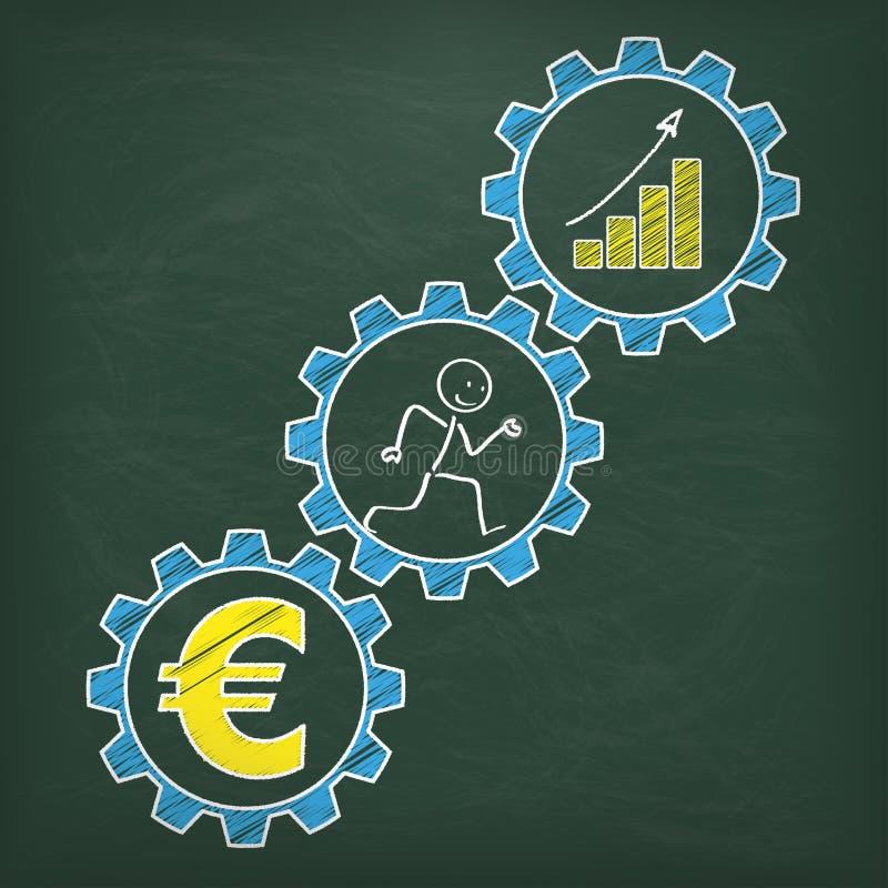 O quadro-negro Stickman corre a carta do Euro das engrenagens ilustração do vetor