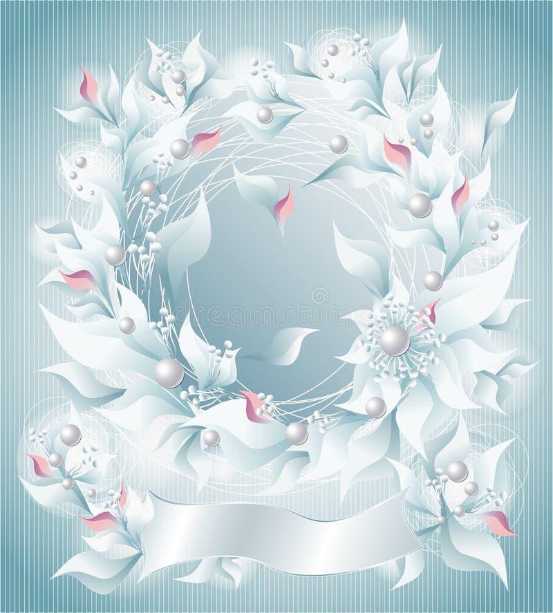 O quadro ou o fundo com flores perolizam o reforço das pétalas ilustração do vetor