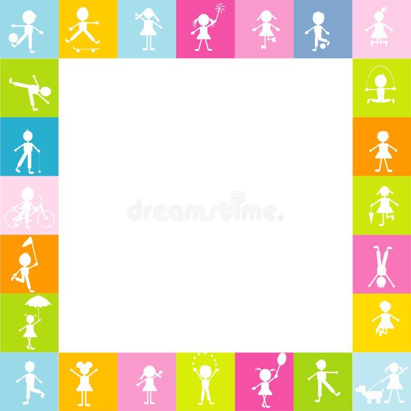 O quadro para crianças com crianças estilizados mostra em silhueta o jogo livre ilustração stock