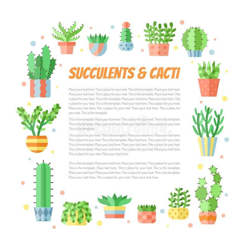 O quadro quadrado colorido do estilo liso das plantas carnudas e dos cactos vector o fundo com lugar para seu texto Projeto de Mi ilustração do vetor