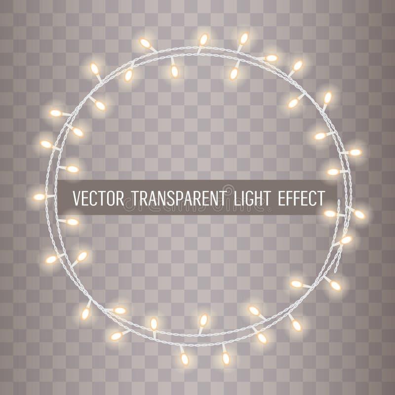 O quadro redondo da sobreposição, corda de incandescência ilumina-se em um fundo transparente Ilustração do vetor ilustração stock