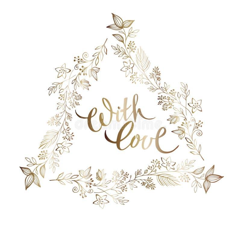 O quadro triangular elegante tirado mão da refeição matinal do ouro com rotulação seja alegre Ornamento elegante do casamento Flo ilustração do vetor