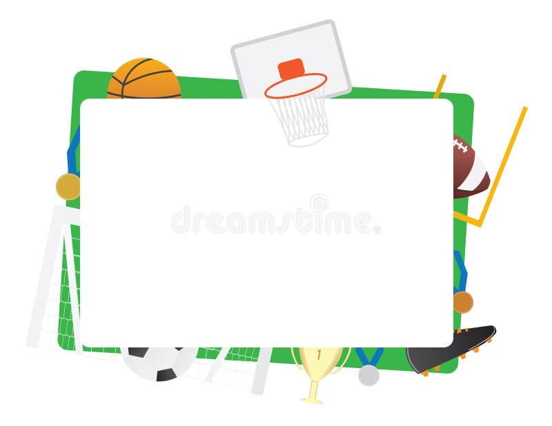 O quadro verde dos esportes de equipe isolou o basquetebol, futebol, basquetebol ilustração royalty free
