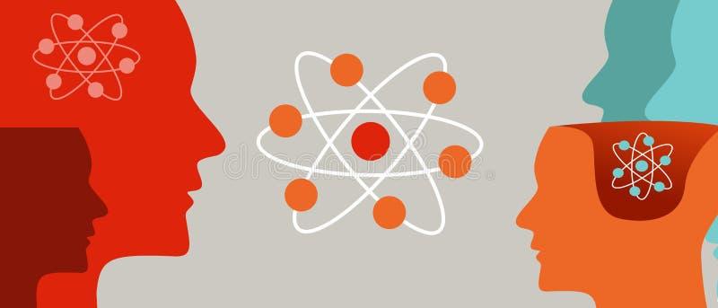 O quantum que aprende o cérebro molecular da física do nêutron da cabeça e do átomo ocupa-se da teoria científica ilustração do vetor
