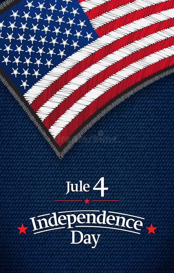 O quarto de julho, cartão americano do vetor do Dia da Independência Jule 4 Os EUA embandeiram na tela das cal?as de brim Vetor ilustração do vetor