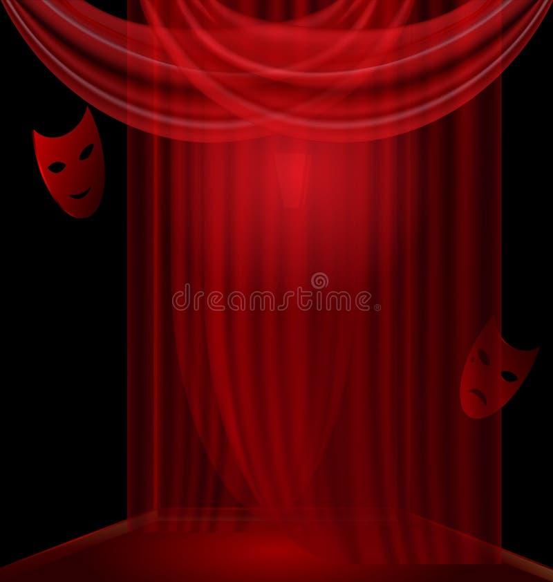o quarto preto com vermelho drapeja ilustração stock