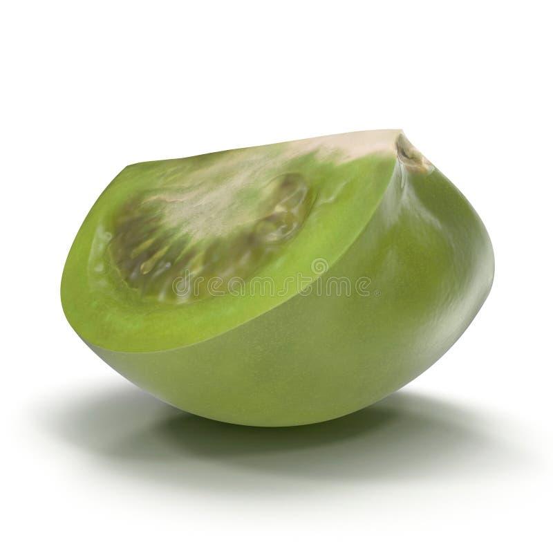 O quarto verde fresco do tomate cortou isolado no fundo branco ilustração 3D ilustração do vetor