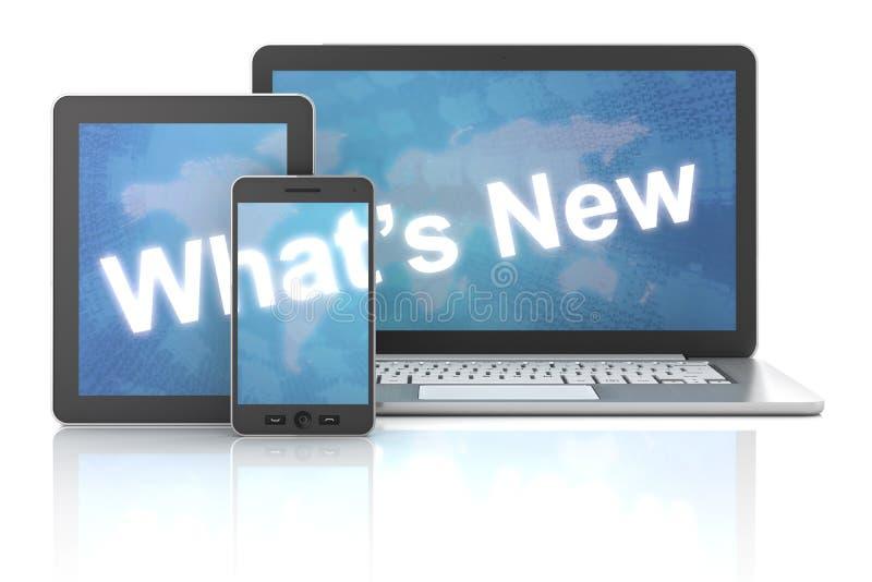 O que é novo no portátil, na tabuleta digital e no smartphone ilustração do vetor