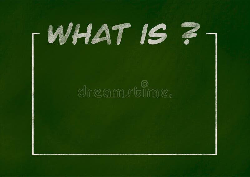O que é texto, espaço da cópia no quadro verde foto de stock