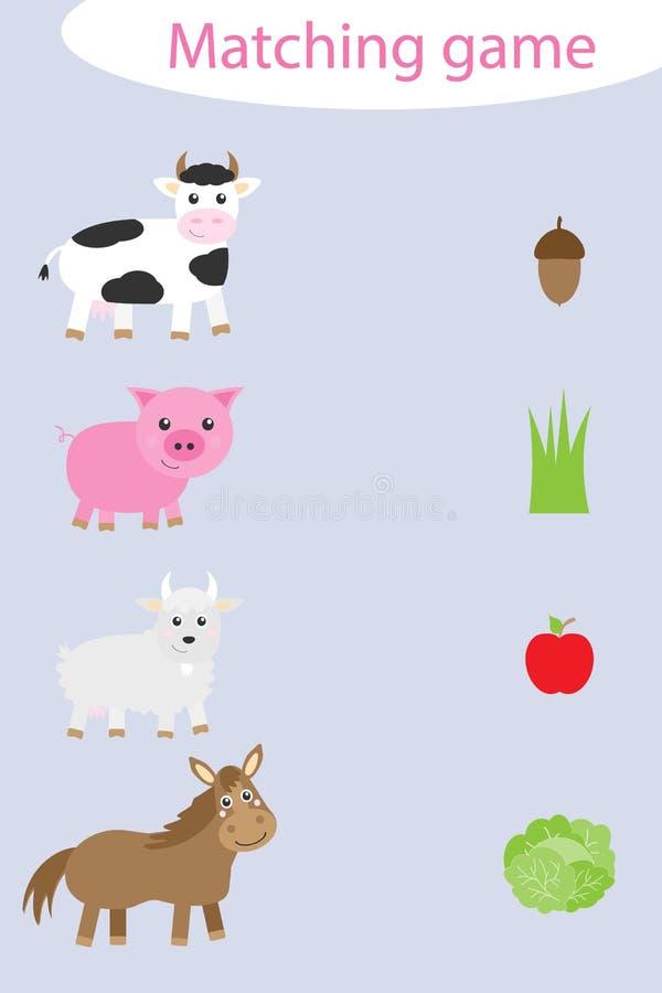 O que eles comem, combinando jogos com animais de fazenda para crianças, jogos educacionais divertidos para crianças, tarefa educ ilustração do vetor