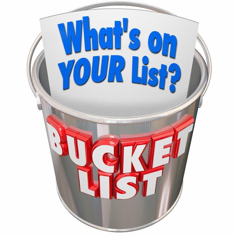 O que está em suas coisas da lista da cubeta a fazer antes que você para morrer ilustração stock