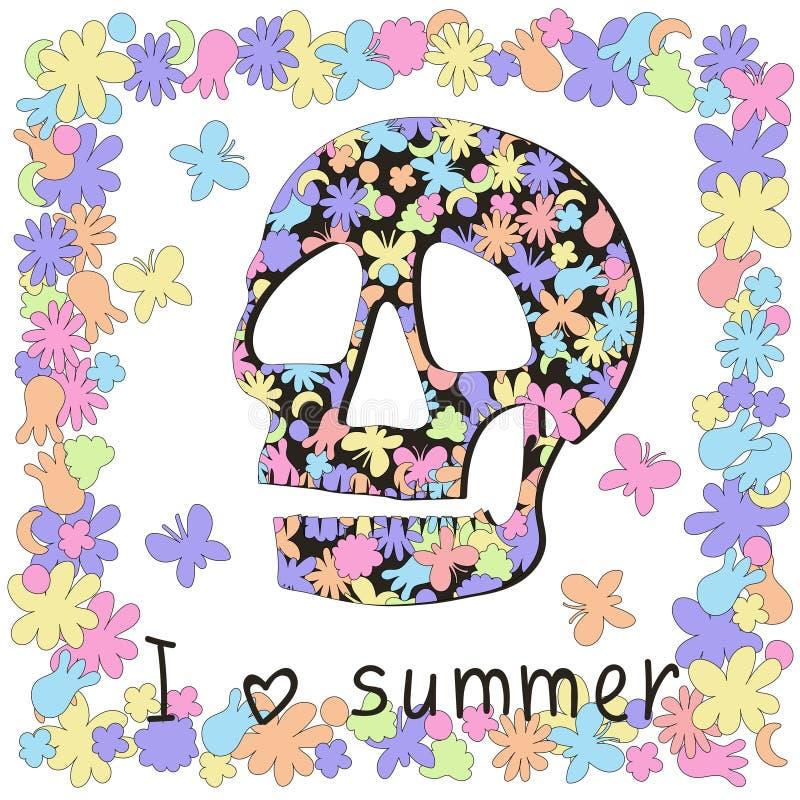 O ` que eu amo o ` do verão diz o crânio e a tristeza sobre o verão passado ilustração stock
