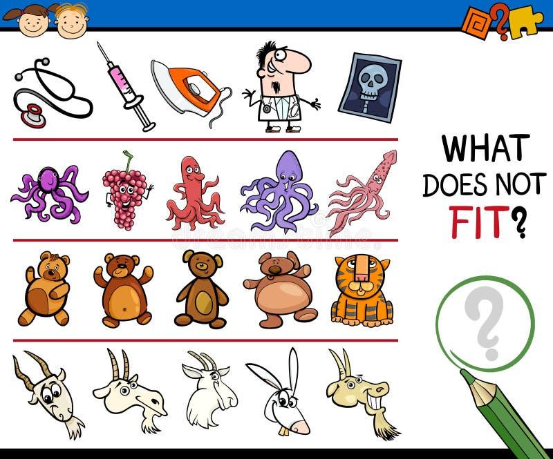 O que não cabe o jogo dos desenhos animados ilustração royalty free