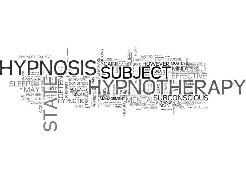 O que são Hypnotherapy e como ele trabalha a nuvem da palavra ilustração stock