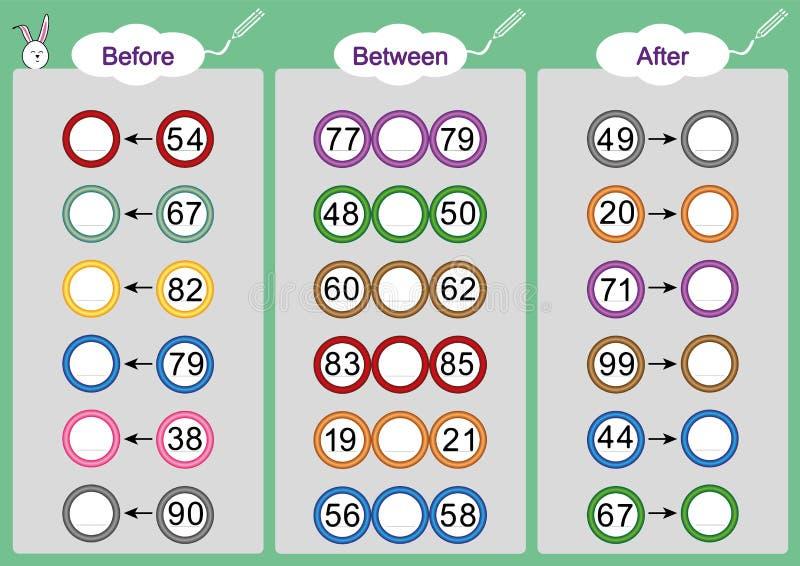O que vem Antes-entre e após, folhas da matemática para crianças ilustração stock