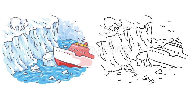 O quebra-gelo encontra um urso polar no ártico, colorido e preto e branco ilustração do vetor